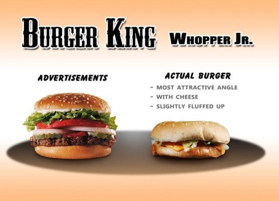 Publicidad engañosa: anuncios vs realidad, algunos ejemplos