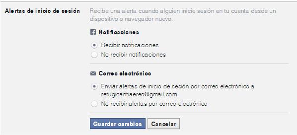 alertas de inicio de sesion de facebook