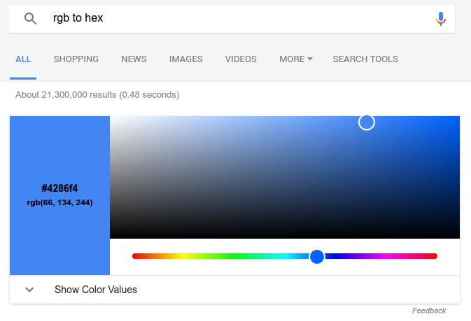 rgb a hex en google
